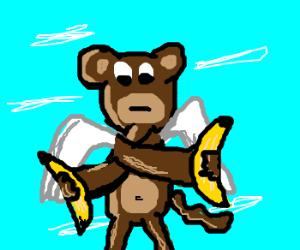 flying monkey swapping bananas