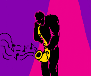 man plays sax