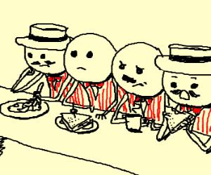 Barbershop quartet takes a lunch break...