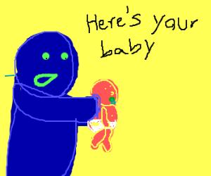 blue mutants deliver baby