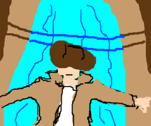 indiana jones slides down a leaking water pipe
