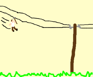 An attempt to slide on power line w/pickaxe