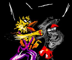 bird headed man punches wolf headed man