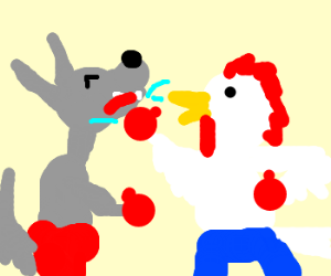 chicken boxing wolf, wolf getting punched