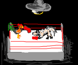 Boxing match between a rooster and a wolf
