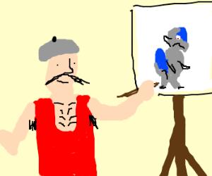 Painting man paints Cranidos