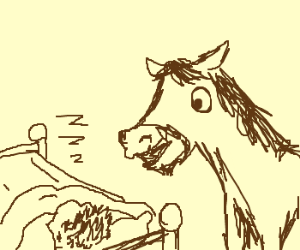 a horse sees a sleeping person