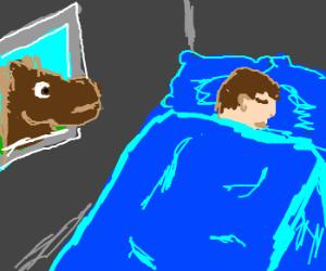 a horse through a sleeping guy's wall
