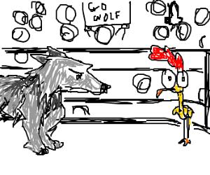 Fight Night: wolf vs chicken