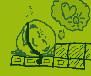 moon in love wearing scarf sleeping on tetris