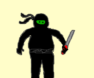 a fat ninja with knife and green face