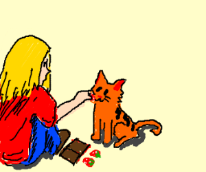 Woman milking cat with a strawberry