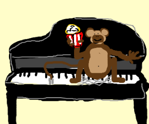 Monkey (or guinea-pig) with popcorn on a piano