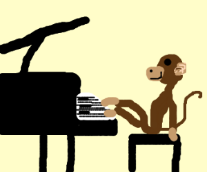 Monkey plays piano with his feet