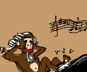 A monkey plays the piano with his feet.