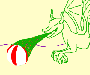 A dragon pukes on a beach ball.