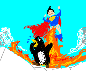 Superman Releases Flaming Urine At The Penguin