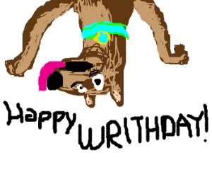 "UpsideDown Scooby with cake. ""HAPPY WRIRTHDAY"""