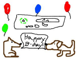 Xbox360 invites dogs to its birthday.