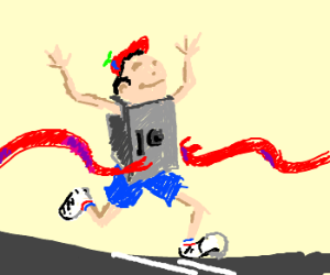 Vault Boy competes in a street race