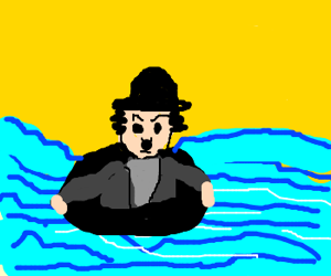Hobo in a swimtube at sea