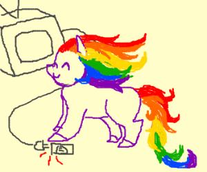 Rainbow mane unicorn unplugs tv