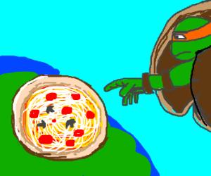 "Michaelangelo's ""Creation of Pizza"" on chapel."