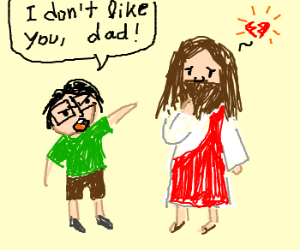 glasses kid doesn't like his dad; dad is Jesus