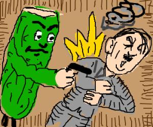 Giant cucumber assassinates Hitler.