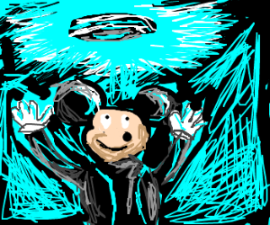 Mickey Mouse Holds A Disc Of Tron