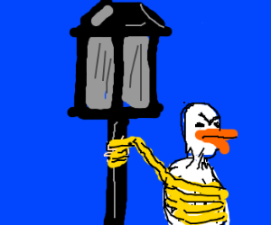 duck tied to top of lamp post