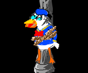 Donald duck tied to a lamp post