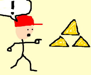 Red hatted Joe finds the triforce!