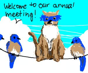 Clever cat infiltrates bluebird meeting.