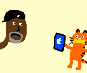 Samuel Jackson frowns at Garfield's iPad.