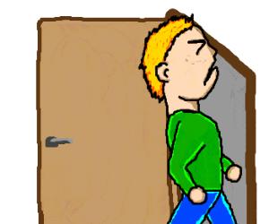 A man bumps his head against the door frame