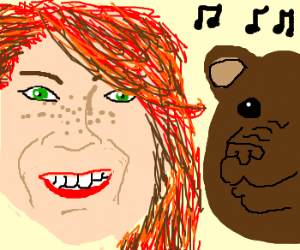Emma Stone Dancing With a Brown Bear