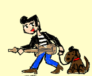 Young Anime Elvis and his Dog
