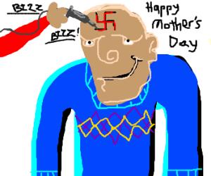 Sweater man tattoos swastika on forehead.