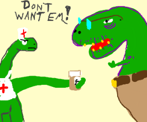 old dinosaur refuses to take his pills
