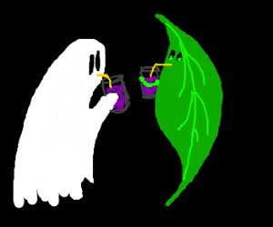 Ghost meets leaf for grape soda