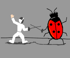 ladybug and person fencing