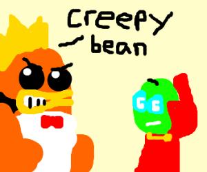 Macho man calls Mr. Bean a creep