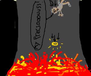 Two Words: La-va - Drawception Gollum Falling Into Mount Doom