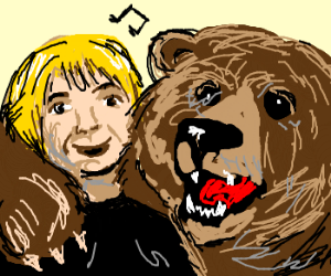 bear and blonde boy sings a song
