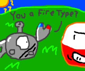 Magnemite asks if Electrode is a Fire-type.
