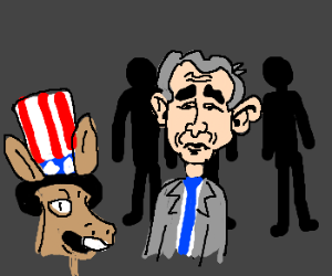 three people behind bush watching donkey