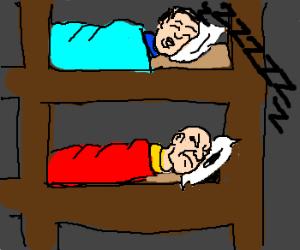 Bunk bed w/top guy snoring & bottom guy upset!