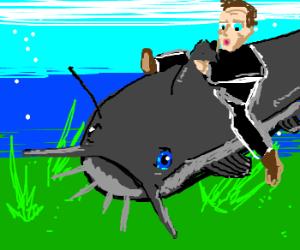 Nicolas Cage riding on a catfish