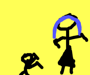 Woman and Midget fighting